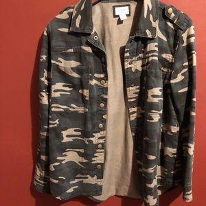 Camo motorcycle lightweight jean jacket